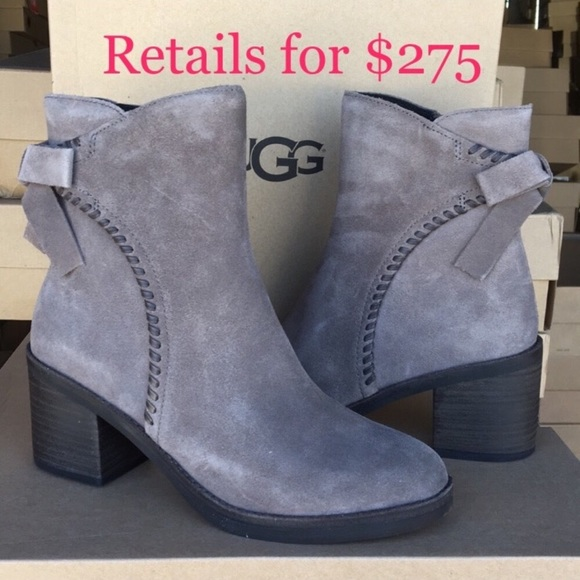 a4f1501c2aa ❤️New Ugg Fraise Whipstitch Gray bow boots Sz 7 NWT